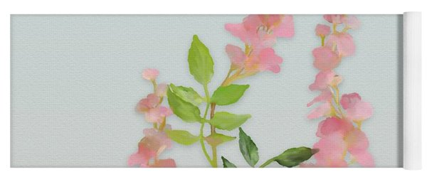 Yoga Mat featuring the painting Pink Tiny Flowers by Ivana Westin