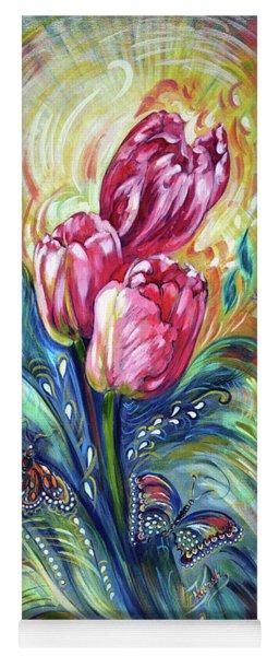 Pink Tulips And Butterflies Yoga Mat