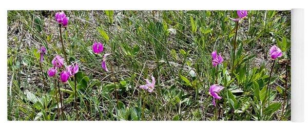 Pink Wild Flowers Yoga Mat
