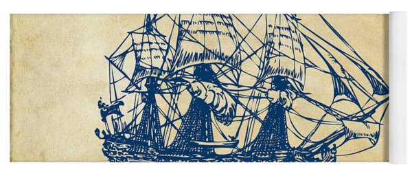 Pirate Ship Artwork - Vintage Yoga Mat