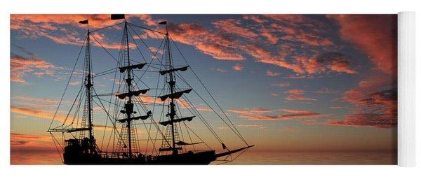 Pirate Ship At Sunset Yoga Mat