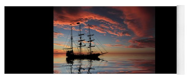 Pirate Ship At Sunset Yoga Mat