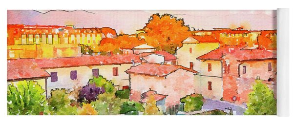 Pisa In Watercolor Style Yoga Mat