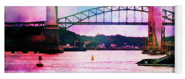 Piscataqua River Bridge From Harborwalk Park, Portsmouth New Hampshire Yoga Mat