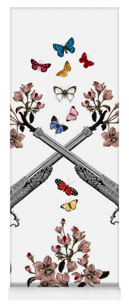 Pistols Wit Flowers And Butterflies Yoga Mat