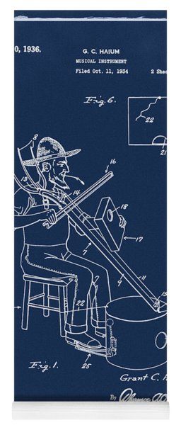 Pitch Fork Fiddle And Drum Patent 1936 - Blue Yoga Mat