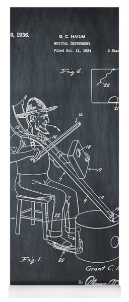 Pitch Fork Fiddle And Drum Patent 1936 - Chalk Yoga Mat