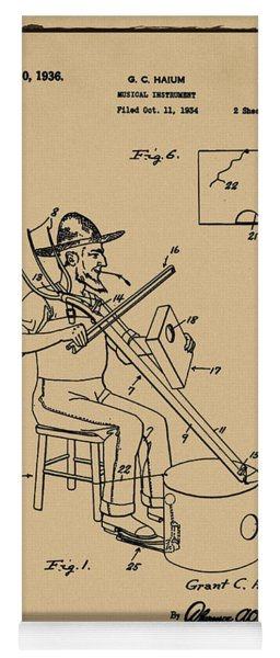 Pitch Fork Fiddle And Drum Patent 1936 - Sepia Yoga Mat