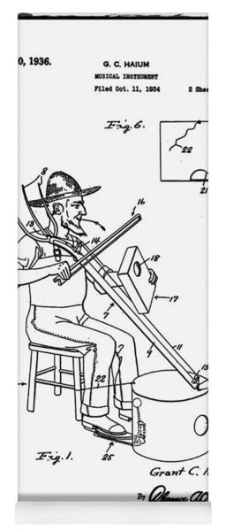 Pitch Fork Fiddle And Drum Patent 1936 - White Yoga Mat
