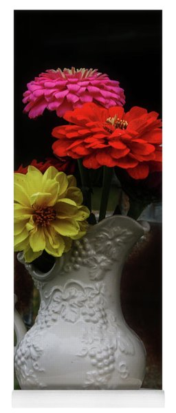 Pitcher And Zinnias Yoga Mat