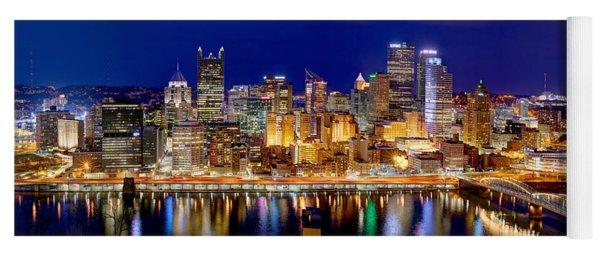 Pittsburgh Pennsylvania Skyline At Night Panorama Yoga Mat