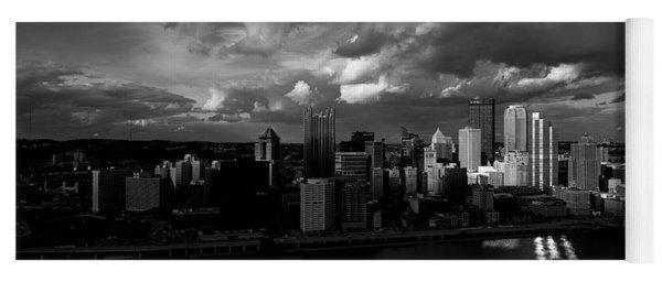 Pittsburgh Pennsylvania Skyline Black And White  Yoga Mat