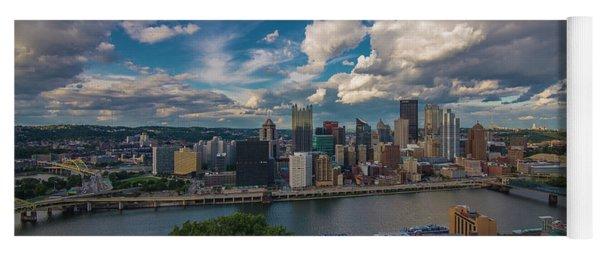 Pittsburgh Pennsylvania Skyline Blue Yoga Mat