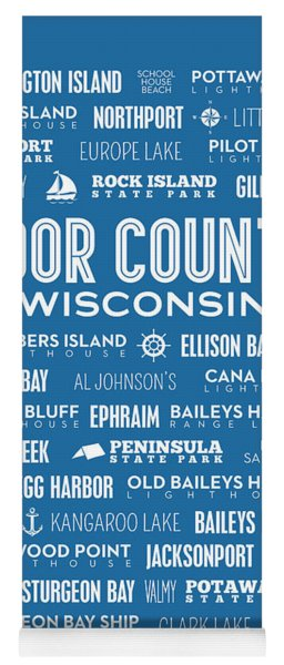 Places Of Door County On Blue Yoga Mat