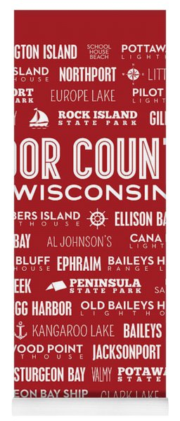 Places Of Door County On Red Yoga Mat