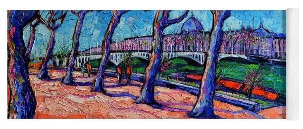 Plane Trees Along The Rhone River - Spring In Lyon By Mona Edulesco Yoga Mat