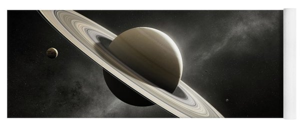 Planet Saturn With Major Moons Yoga Mat