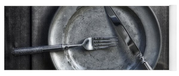 Plate With Silverware Yoga Mat