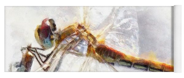 Platinum White Dragonfly Watercolor Yoga Mat