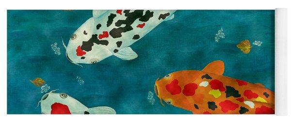 Playful Koi Fishes Original Acrylic Painting Yoga Mat
