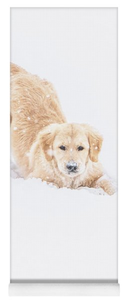 Playful Puppy In So Much Snow Yoga Mat