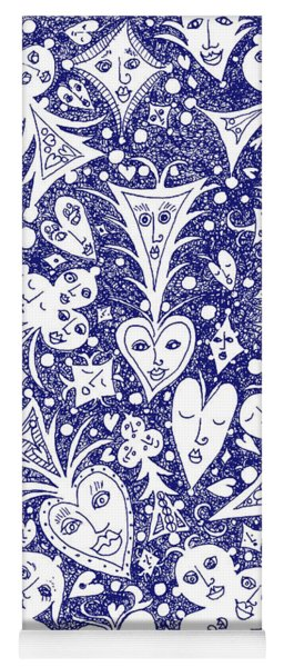 Playing Card Symbols With Faces In Blue Yoga Mat