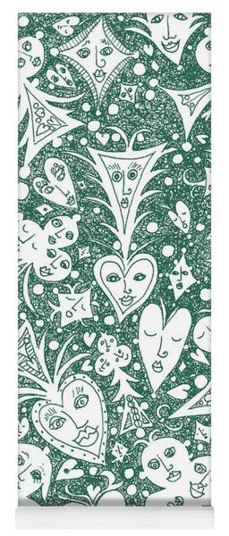 Playing Card Symbols With Faces In Hunter Green Yoga Mat