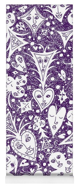 Playing Card Symbols With Faces In Purple Yoga Mat
