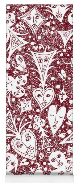 Playing Card Symbols With Faces In Red Yoga Mat