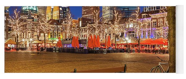 Yoga Mat featuring the photograph Plein Square At Night - The Hague by Barry O Carroll