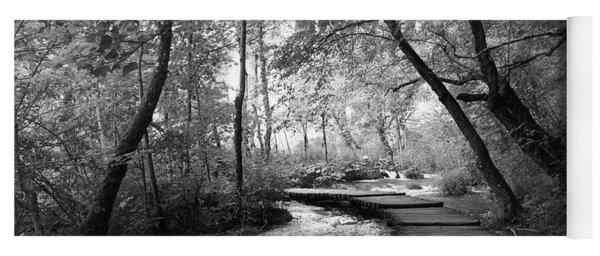 Plitvice In Black And White Yoga Mat