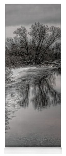 Plover River Black And White Winter Reflections Yoga Mat