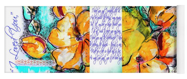 lyric of Pushkin and yellow flowers Yoga Mat