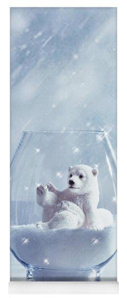 Polar Bear In Snow Globe Yoga Mat
