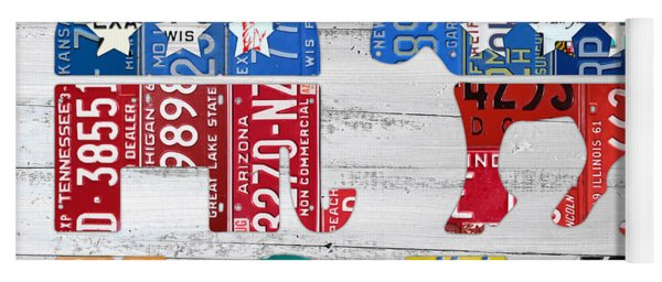 Political Party Election Vote Republican Vs Democrat Recycled Vintage Patriotic License Plate Art Yoga Mat