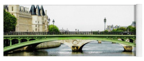 Pont Au Change Over The Seine River In Paris Yoga Mat