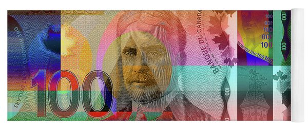 Pop-art Colorized New One Hundred Canadian Dollar Bill Yoga Mat