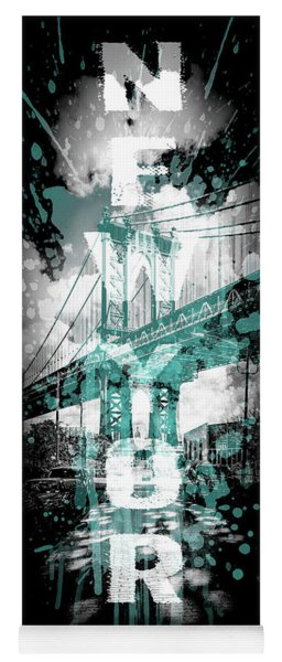 Pop Art Manhattan Bridge - Cyan Yoga Mat