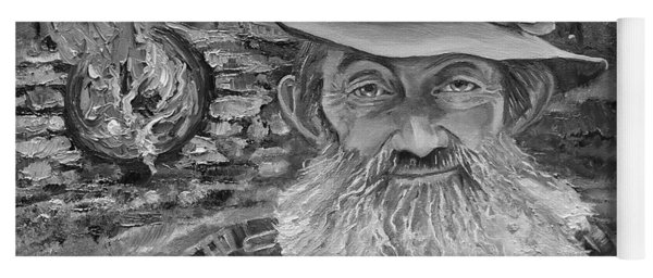 Yoga Mat featuring the painting Popcorn Sutton - Black And White - Rocket Fuel by Jan Dappen