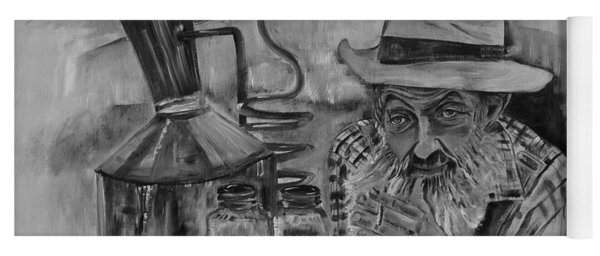 Yoga Mat featuring the painting Popcorn Sutton - Black And White - Waiting On Shine by Jan Dappen