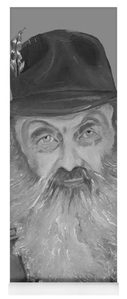 Yoga Mat featuring the painting Popcorn Sutton Moonshiner Bust - T-shirt Transparent B And  W by Jan Dappen