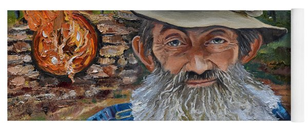 Yoga Mat featuring the painting Popcorn Sutton - Rocket Fuel -white Whiskey by Jan Dappen