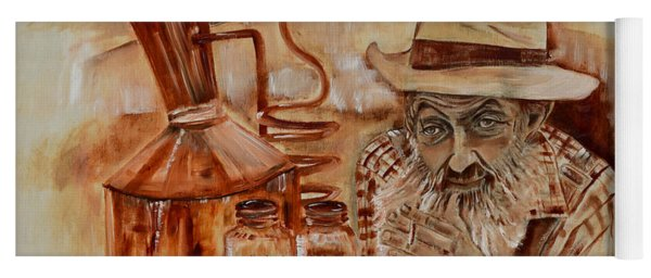 Yoga Mat featuring the painting Popcorn Sutton - Waiting On Shine by Jan Dappen