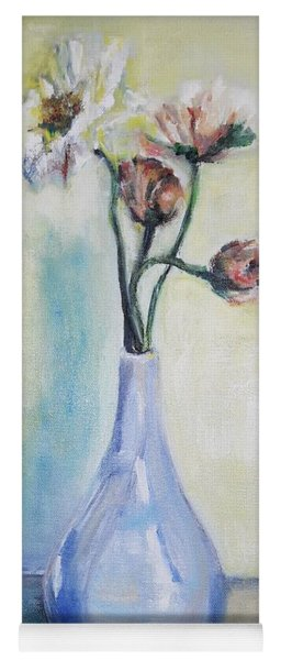 Poppies In A Blue Vase Yoga Mat
