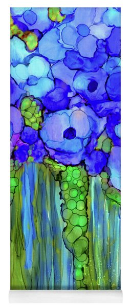 Poppy Bloomies 1 - Blue Yoga Mat