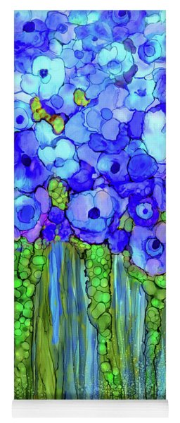 Yoga Mat featuring the mixed media Poppy Bloomies 2 - Blue by Carol Cavalaris
