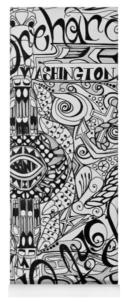 Port Orchard Washington Zentangle Collage Yoga Mat