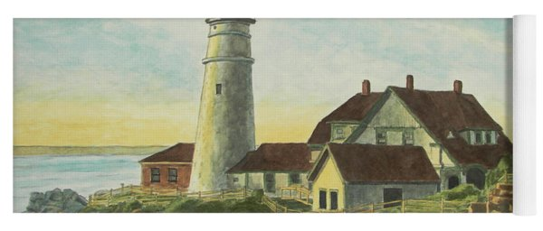 Yoga Mat featuring the painting Portland Head Light At Sunrise by Dominic White