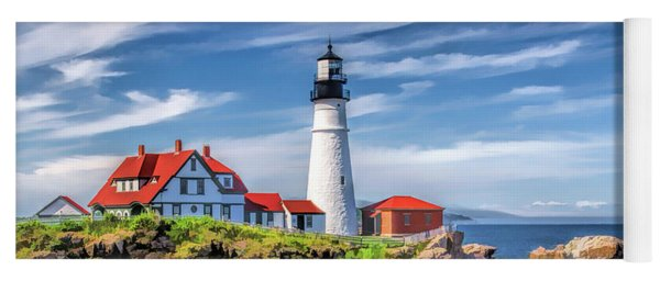 Yoga Mat featuring the painting Portland Head Lighthouse by Christopher Arndt