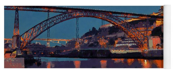 Porto River Douro And Bridge In The Evening Light Yoga Mat